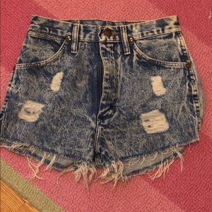 Distressed and bleached Jean shorts